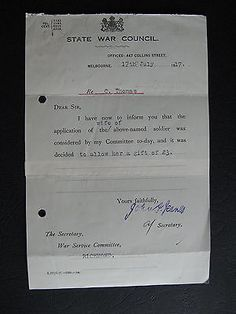 WW1 ANZAC SERVICEMAN C Thomas of RICHMOND