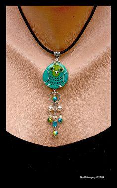 BINDI BIRD! Fused Glass pendant