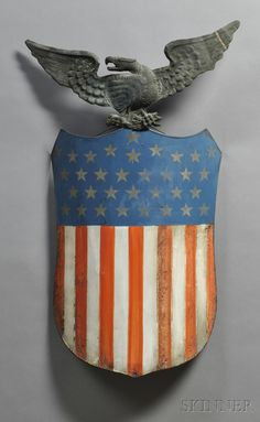 painted Sheet-metal Union Shield with Copper Eagle Figure, America, c. molded sheet-copper eagle figure mounted on a curved sheet iron shield painted red, white, and blue with thirty-three gold-stenciled stars. American Pride, American History, American Flag, Kitsch, Patriotic Symbols, Symbols Of Freedom, Patriotic Decorations, Old Glory, God Bless America