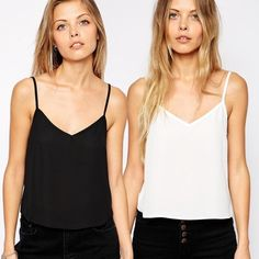2 Pack Crop Woven Cami Crop Tops. Brand New Never Worn 2 Pack Crop Tank Tops in White and Black. ASOS Tops Crop Tops