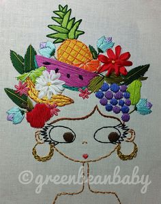 Portrait of Carmen Miranda Digital Embroidery by greenbeanbaby