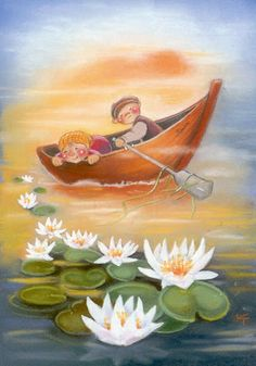 My collection. Kaarina Toivanen - Юлия К - Picasa Web Albums Creation Photo, Funny Drawings, Gone Fishing, Water Lilies, My Collection, Children's Book Illustration, Cute Art, Cute Kids, Wallpaper Backgrounds