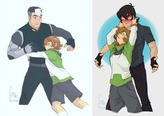 Pidge likes to hug Shiro and Keith from Voltron Legendary Defender