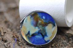 Big Ceramic ring unique ring tiffany method best gift  by zolanna