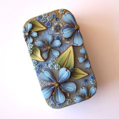 Blue Flower Slide Top Tin Sewing Needle Case by Claybykim on Etsy, $16.00