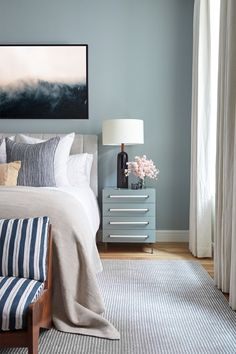 5 Ideas for Colors to Pair With Blue When Decorating | Blue is undoubtedly one of the most popular colors in home decor. Navy blue, cornflower blue, cobalt blue...hues of the incredibly versatile color.  see five killer blue-centric palettes—all with totally different vibes—that would be perfect in any room of your home.