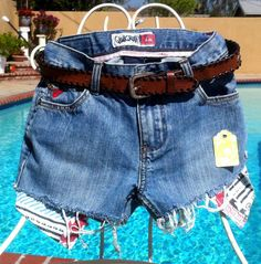 QuickSilver Jeans Blue Jean Shorts & Brown by OCVintageArtCouture, $26.00