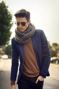 STYLE TIPS: Ease into Fall with a Scarf.   ---> FOLLOW US ON PINTEREST for Style Tips, Men's Basics, Men's Essentials on anything, OUR SALES etc...   ~ VujuWear