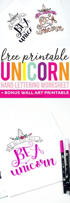 Get this FREE Printable Unicorn Hand Lettering Worksheet and Wall Art. Practice your lettering, and remember you can always fall back on being a unicorn. Free Printable Art, Printable Letters, Printable Designs, Free Printables, Unicorn Printables, Art Worksheets, Bullet Journal, Brush Lettering, Design Tutorials