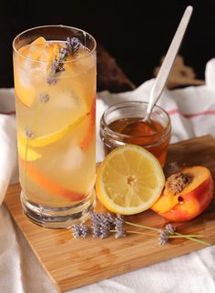 lemon nectarine cooler with honey lavender simple syrup