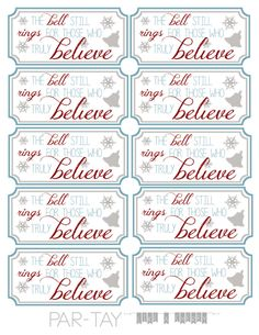 perfect party favor for your polar express themed bash, free printable tags Polar Express Tickets, Polar Express Bell, Polar Express Movie, Polar Express Theme, Preschool Christmas, Christmas Activities, Kids Christmas, Christmas Labels, Ideas
