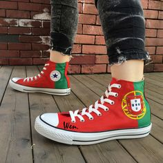 High Top Converse Flag of Portugal Custom Design Hand Painted Shoes High Top Red Canvas Sneakers. Click visit to buy Converse All Star, Converse Shoes, On Shoes, Hand Painted Shoes, Hand Painted Canvas, Birthday Woman, Birthday Gifts For Women, Graffiti Shoes, Portugal Flag