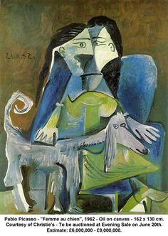 """Pablo Picasso - """"Femme au chien"""", 1962. Beautiful"""