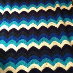 Ocean waves crochet throw