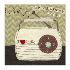 Vintage radio birthday - greeting card