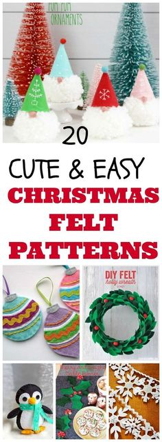20 DIY christmas felt patterns for holiday crafts, christmas gift ideas and winter decor. #diy #craft #christmas #christmasdecor #felt #gnomes