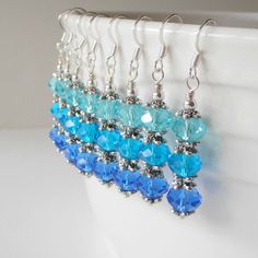 Blue Ombre Crystal Earring Bridesmaid Earring by FiveLittleGems, $15.00