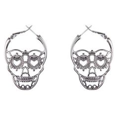 Hematite Sugar Skull Hoop Earrings Hot Topic ❤ liked on Polyvore featuring jewelry, earrings, skull jewellery, skull jewelry, earring jewelry, hoop earrings and hematite jewelry