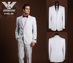 Armani Two Button Suits White 04