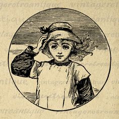 Printable Image Girl with Hat Graphic by VintageRetroAntique