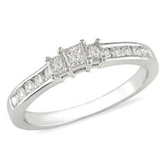 1/2 CT. T.W. Princess-Cut Diamond Three Stone Engagement Ring in 10K White Gold - View All Rings - Zales