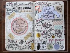 this blogger's journaling staples: alpha stickers, pretty tape, cupcake liners and coffee filters, white paper doilies, vintage labels from estate sales, old paper, die cut shapers, old paper, striped tape, gold seals, martha stewart pointed circle paper punched shapes, shape punches, starburst stickers.