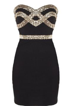 Black Diamond Dress: Features an ultra feminine sweetheart neckline, glittering gold crossover design to the bodice, figure-flattering sequin waistband, and a sexy body-conscious silhouette to finish. Perfect #LBD #LittleBlackDress #Prom #mini / short dress #elegant #sophisticated #sexy #sweetheart
