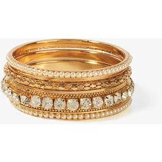 FOREVER 21 Pearlescent Rhinestone Bangle Set ($11) ❤ liked on Polyvore