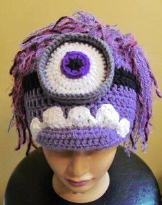 Purple Minion Despicable Me Fan Art hat made to order in all sizes