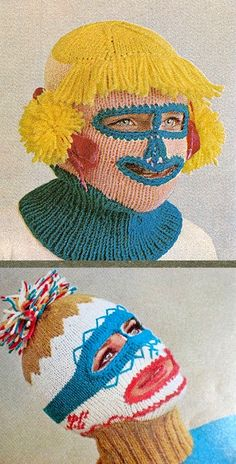 The next time you want to rob a bank, consider knitting your own ski mask. McCall's Needlework & Crafts Magazine 1965 Textiles, Knit Crochet, Crochet Hats, Weird And Wonderful, Retro, Bunt, Skiing, Needlework, Creations