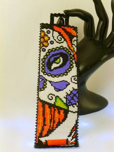 Marigold Sugar Skull Peyote Cuff Bracelet - Perfect Gift For Those With A Unique Sense Of Style