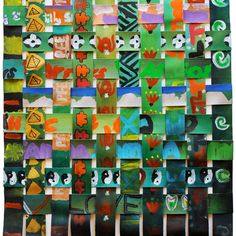 """Woven paintings collaboration between Sofia and 8-12 year old students at Orakei School Sofia Minson on the experience: """"What a joy it has..."""