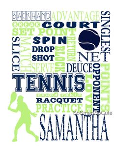 Tennis gifts / Tennis Print / Tennis art / by sosmartsocute Tennis Tips, Sport Tennis, Play Tennis, Tennis Decorations, Locker Decorations, Table Decorations, Tennis Crafts, Tennis Posters, Tennis Serve