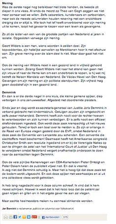 My Column in Volkskrant Opinie Nr 26 part 2