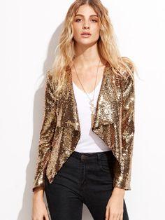 Golden Sequins Draped Collar Blazer