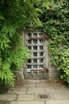 Garden Door at Haddan Hall, Bakewell, Derbyshire, England