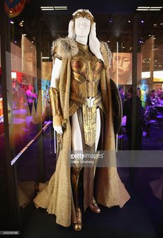 A Queen Hippolyta costume worn by Connie Nielsen in the upcoming Wonder Woman movie is displayed in the Warner Bros. booth at the Licensing Expo 2016 at the Mandalay Bay Convention Center on June 21, 2016 in Las Vegas, Nevada.