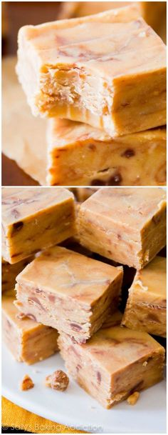 Cmas treat~~The creamiest, smoothest, peanut butteriest, BEST fudge ever! Only 4 ingredients and no candy thermometer or stove are required. Peanut Butter Fudge, Peanut Butter Recipes, Fudge Recipes, Candy Recipes, Sweet Recipes, Peanut Candy, Gin Recipes, Köstliche Desserts, Delicious Desserts