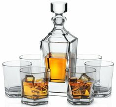 Crystal Decanter Set W 6 Double Old Fashioned Glasses L Dornoch Kitchen - Decanters - Ideas of Decanters Whiskey Decanter, Whiskey Glasses, Crystal Decanter, Scotch Whiskey, Bottle Stoppers, W 6, Cut Glass, Lead Free, Walmart