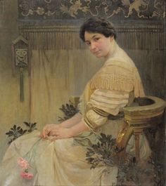 Alphonse Mucha (1860-1939). Portrait of Mucha's Wife, Maruška. 1908-1917. Oil on canvas. Mucha Museum - Prague - Czech Republic