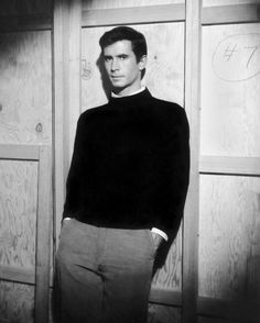 """Anthony Perkins, 1960, during the filming of Hitchcock's """"Psycho""""."""