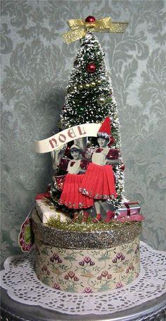 Vintage Style Flocked Bottle Brush Tree Christmas Box, Ornaments, Roses, Noel | eBay