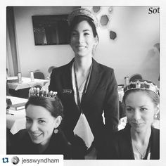 Courtesy of Jess Wyndham, three lucky ladies from Sotheby's wearing Lady Allan's seed pearl tiara, the Viscountess de Courval's pearl tiara and the Cartier blackened steel tiara. Lucky Ladies, Royal Jewels, Queen, Tiaras And Crowns, Cartier, Royalty, Coral, Pearls, Lady
