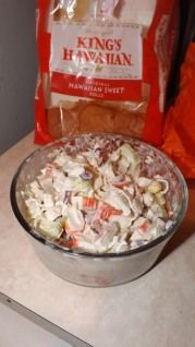 Easy to make Cold Imitation Crab salad, with a little bit of sweetness to it.  Very delicious!King's Hawaiian Recipes.