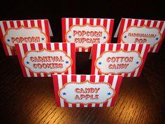 Circus Carnival Food Labels (Set of 6). $6.00, via Etsy.