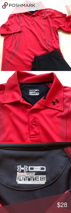 "Under Armour Golf Shirt Red/Black Under Armour red and black golf shirt.  Size medium Measurements lying flat: underarm to underarm 20"" and total length 27"" Please check my closet for coordinating items. Both my sons played golf, and I'm selling their old golf clothes.  Much more to come. Under Armour Shirts Polos"
