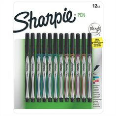 Sharpie® Pen Set - Won't bleed through the paper! Set of 12 extra-fine-point markers includes two black, two blue and one each of red, green, turquoise, melon, hot pink, lime, orange and purple. Smear-resistant, permanent ink. Acid-free. Nontoxic.