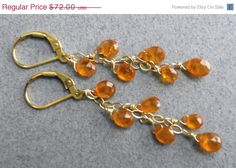 EARRING SALE 15 off Mandarin Garnet Water Drop by SueanneShirzay, $61.20