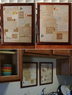 family recipes framed and displayed in the kitchen  Notes from Gwen: I'd use copies, and give these as gifts!  Maybe a few photos of the cooks, or old labels to give it more color ~Gwen