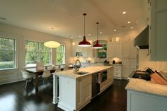 Red Pendant Light Kitchen Contemporary with Bead Board Dark Stained